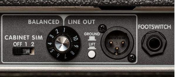 botones del Fender Tone Master Deluxe Reverb parte trasera